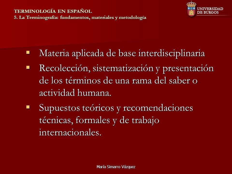 Materia aplicada de base interdisciplinaria