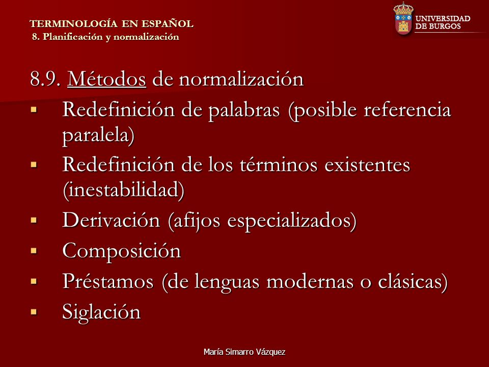 TERMINOLOGÍA EN ESPAÑOL 8. Planificación y normalización