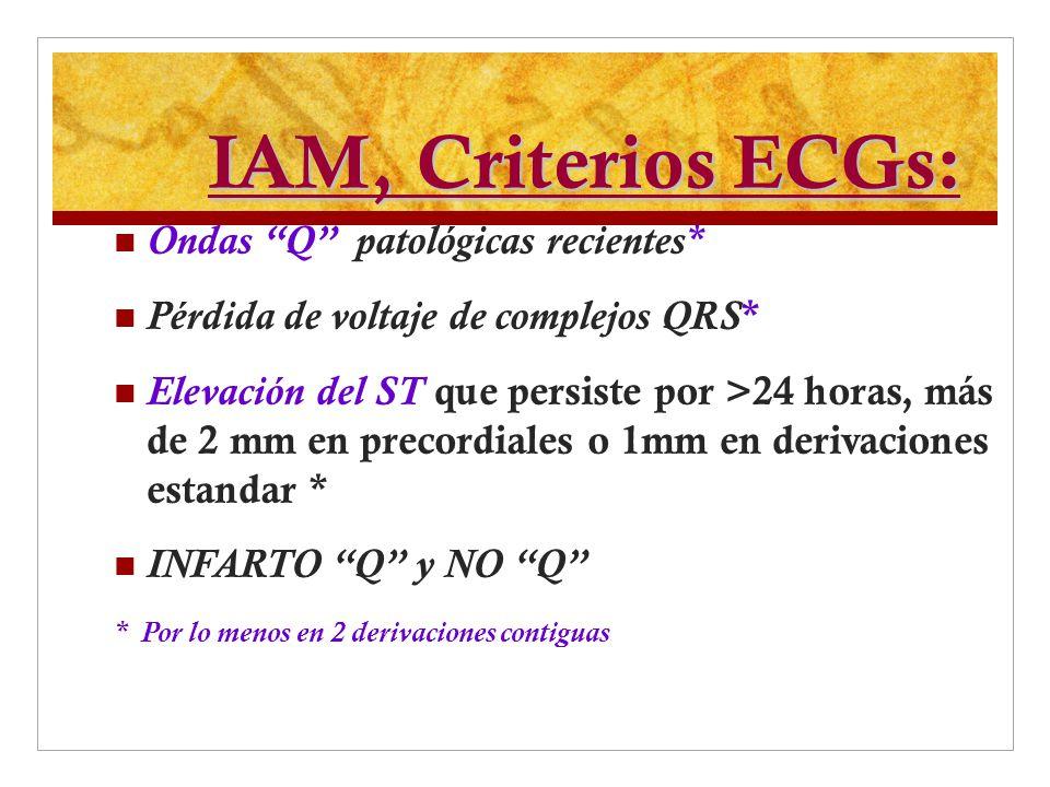 IAM, Criterios ECGs: Ondas Q patológicas recientes*