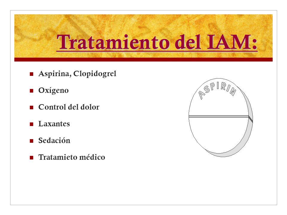 Tratamiento del IAM: Aspirina, Clopidogrel Oxígeno Control del dolor