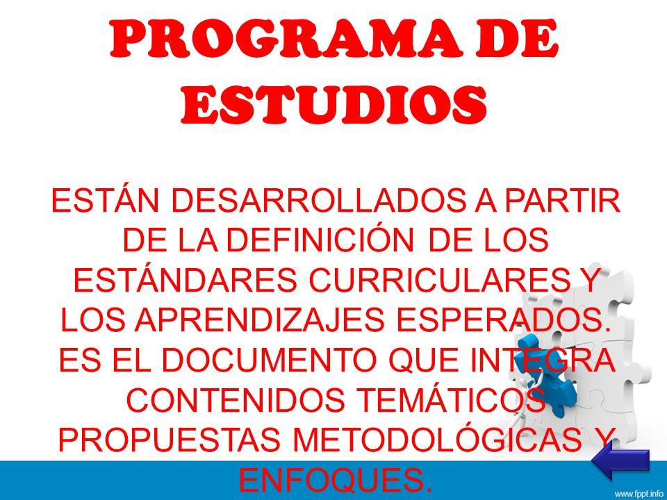 PROGRAMA DE ESTUDIOS ESTÁN DESARROLLADOS A PARTIR DE LA DEFINICIÓN DE LOS ESTÁNDARES CURRICULARES Y LOS APRENDIZAJES ESPERADOS.