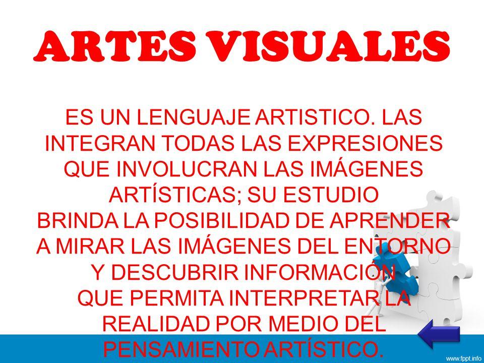 ARTES VISUALES ES UN LENGUAJE ARTISTICO. LAS INTEGRAN TODAS LAS EXPRESIONES QUE INVOLUCRAN LAS IMÁGENES ARTÍSTICAS; SU ESTUDIO.