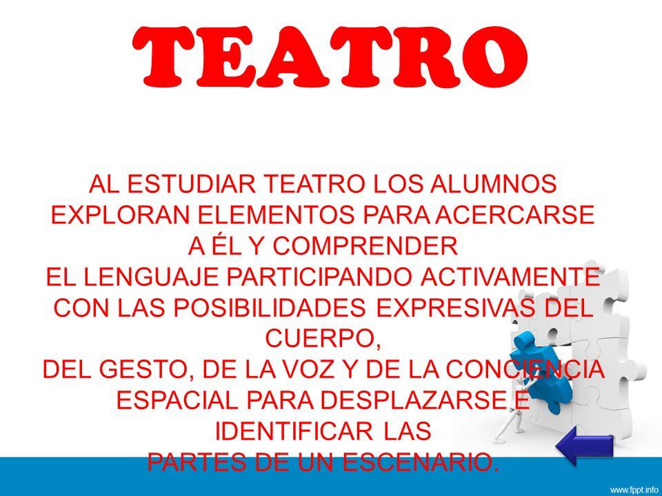 TEATRO AL ESTUDIAR TEATRO LOS ALUMNOS EXPLORAN ELEMENTOS PARA ACERCARSE A ÉL Y COMPRENDER.