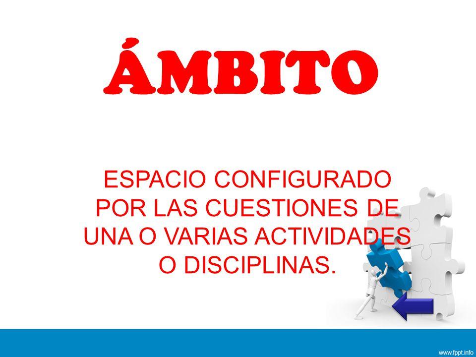 ÁMBITO ESPACIO CONFIGURADO POR LAS CUESTIONES DE UNA O VARIAS ACTIVIDADES O DISCIPLINAS.
