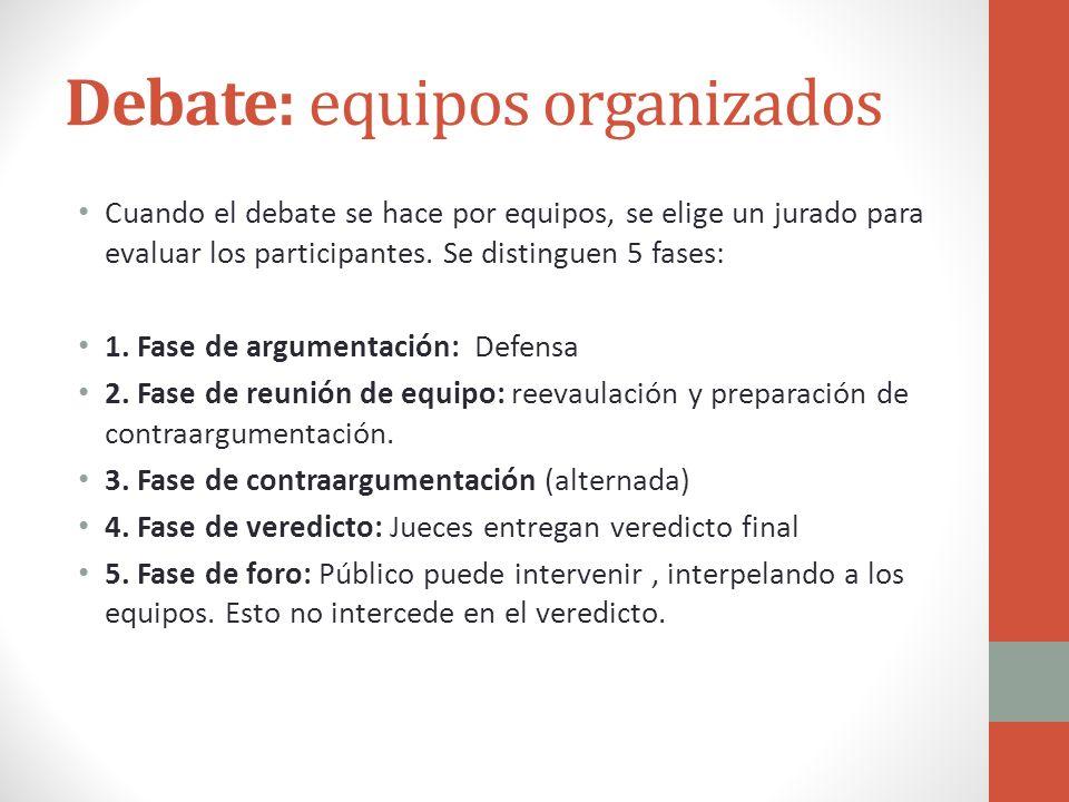 Debate: equipos organizados