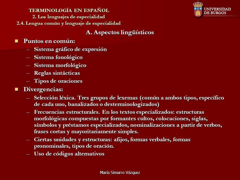 A. Aspectos lingüísticos