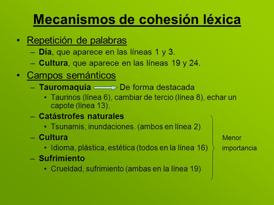 Mecanismos de cohesión léxica