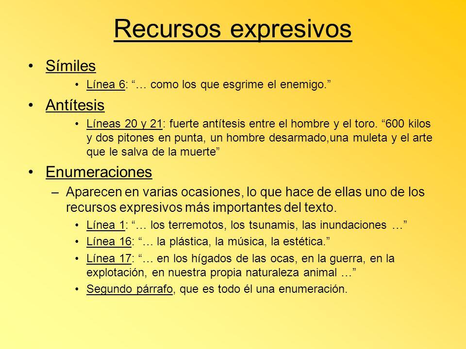 Recursos expresivos Símiles Antítesis Enumeraciones