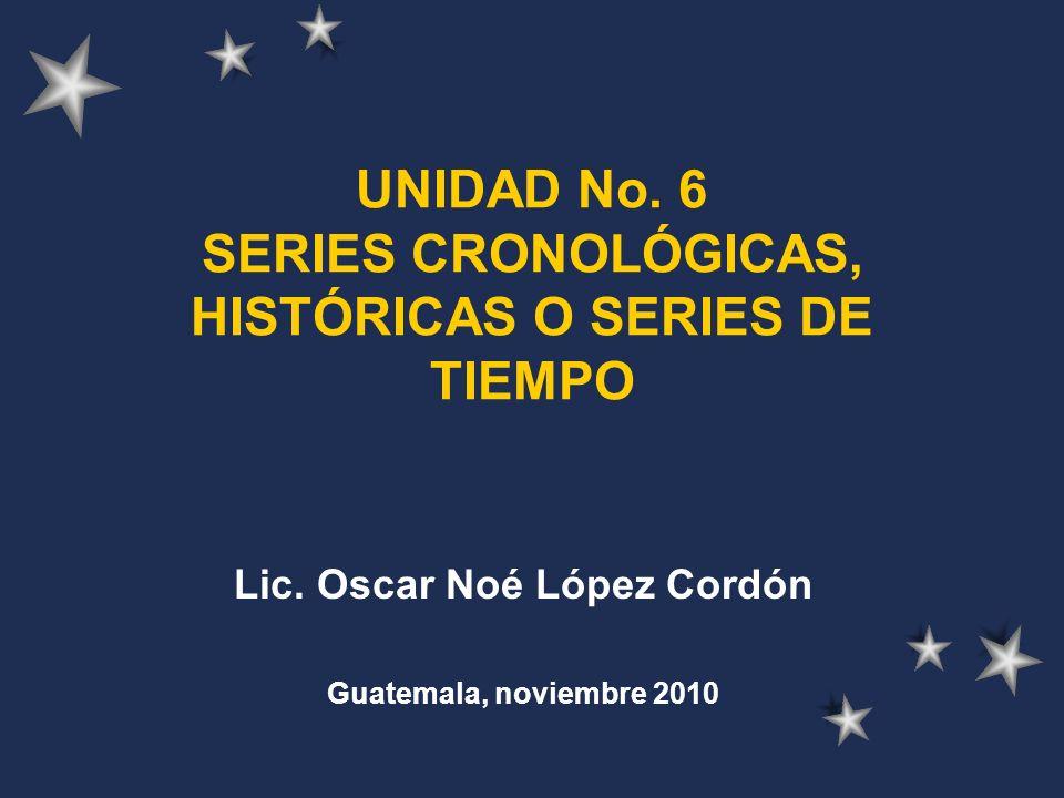 UNIDAD No. 6 SERIES CRONOLÓGICAS, HISTÓRICAS O SERIES DE TIEMPO