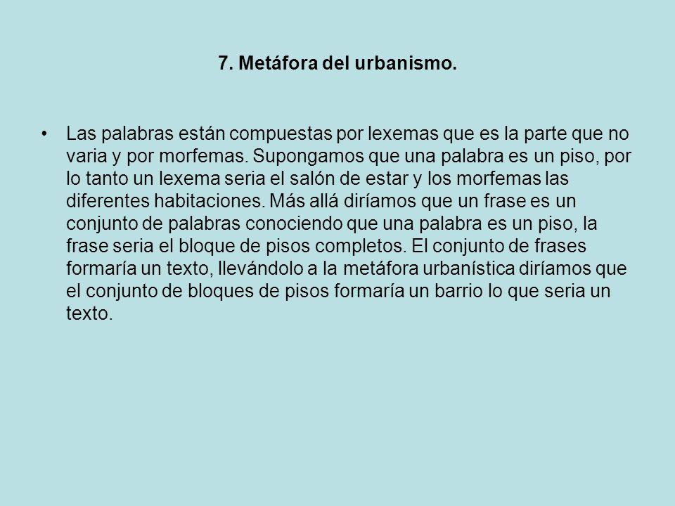 7. Metáfora del urbanismo.