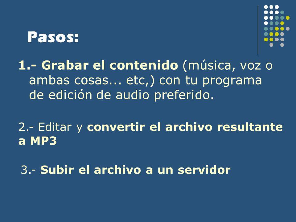 Pasos: 1.- Grabar el contenido (música, voz o ambas cosas... etc,) con tu programa de edición de audio preferido.