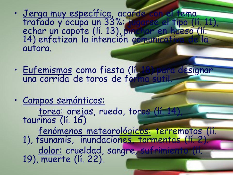 Jerga muy específica, acorde con el tema tratado y ocupa un 33%: jugarse el tipo (lí. 11), echar un capote (lí. 13), pinchar en hueso (lí. 14) enfatizan la intención comunicativa de la autora.