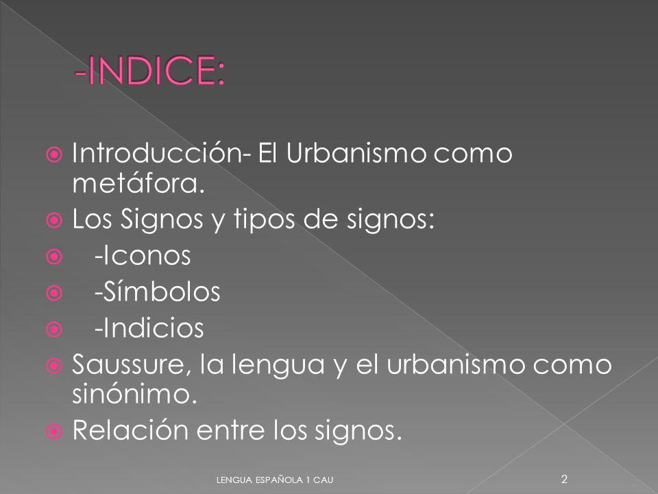 -INDICE: Introducción- El Urbanismo como metáfora.