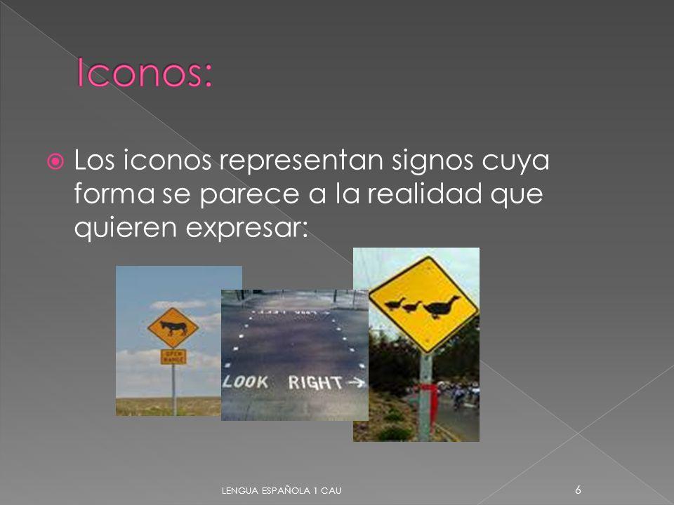 Iconos: Los iconos representan signos cuya forma se parece a la realidad que quieren expresar: LENGUA ESPAÑOLA 1 CAU.