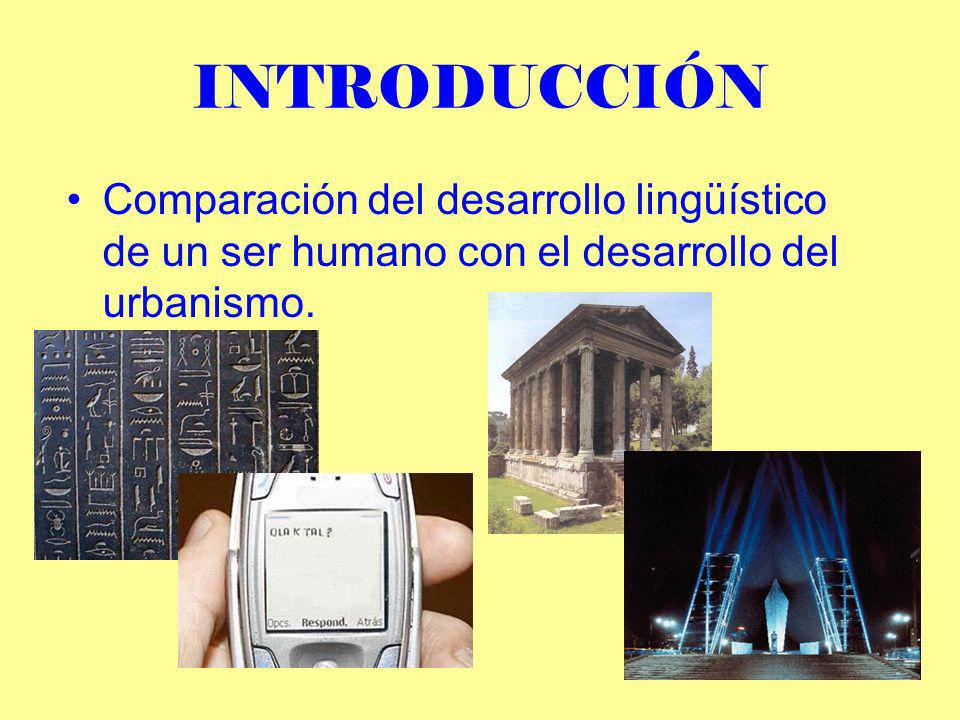 INTRODUCCIÓN Comparación del desarrollo lingüístico de un ser humano con el desarrollo del urbanismo.