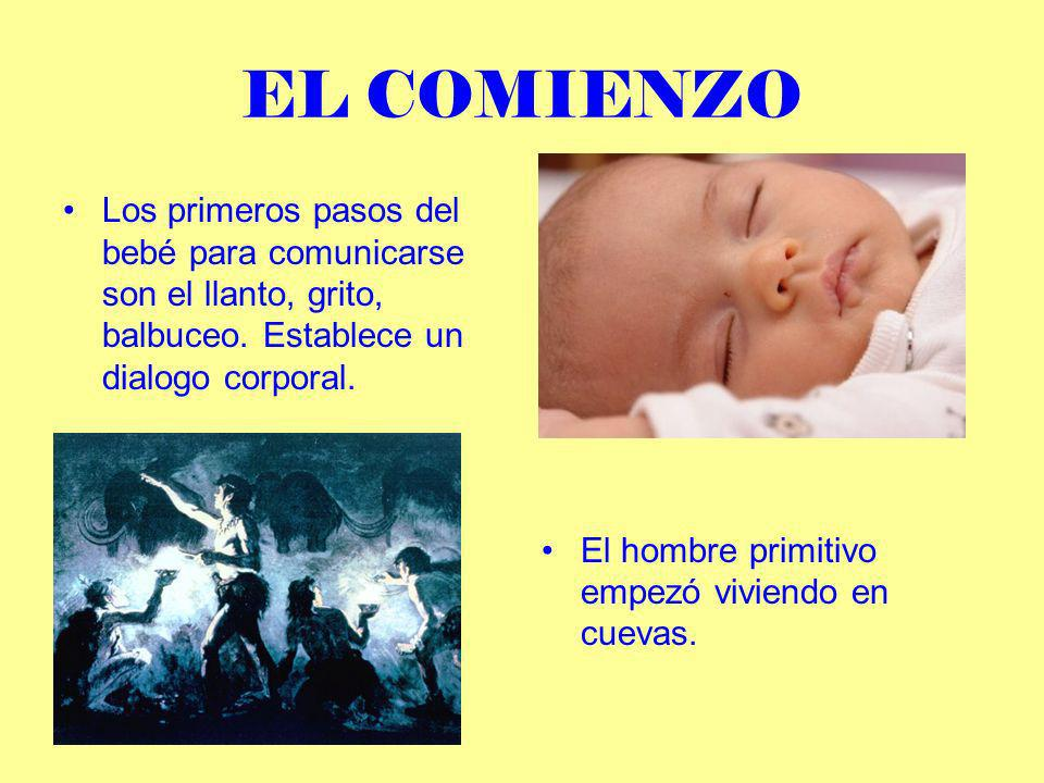 EL COMIENZO Los primeros pasos del bebé para comunicarse son el llanto, grito, balbuceo. Establece un dialogo corporal.