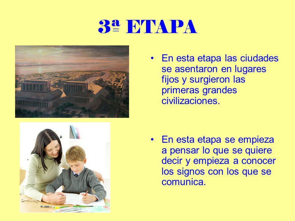 3ª ETAPA En esta etapa las ciudades se asentaron en lugares fijos y surgieron las primeras grandes civilizaciones.