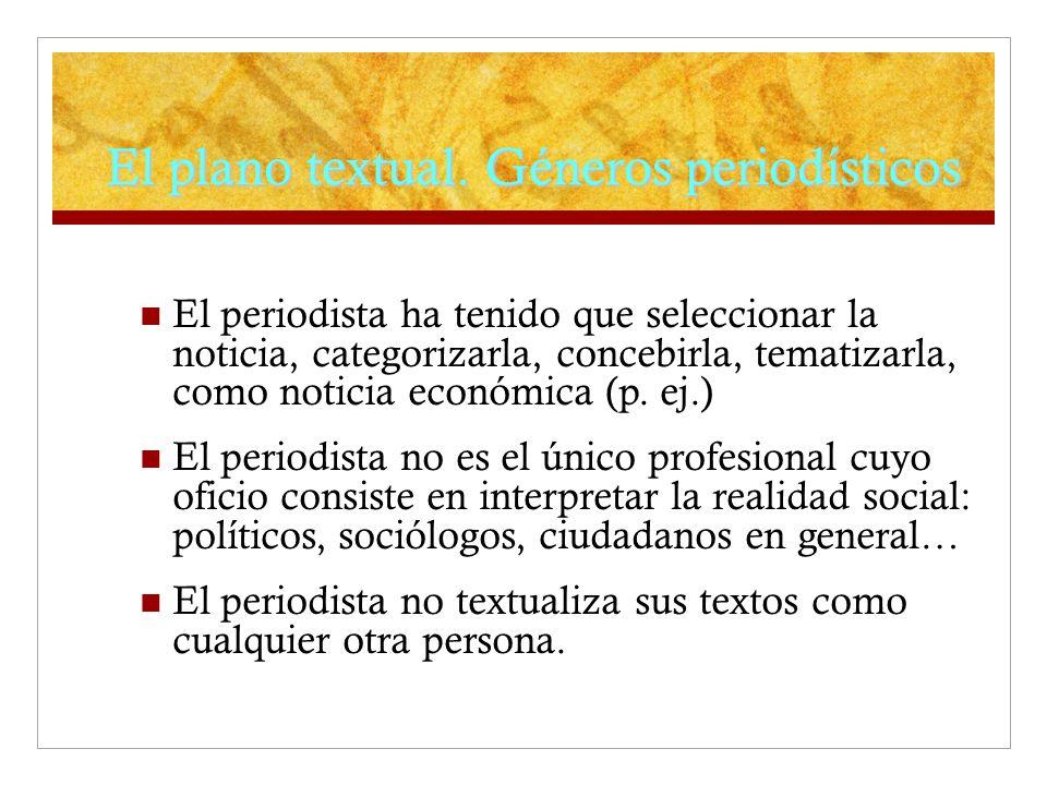 El plano textual. Géneros periodísticos