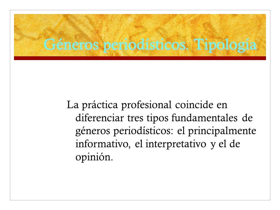 Géneros periodísticos. Tipología