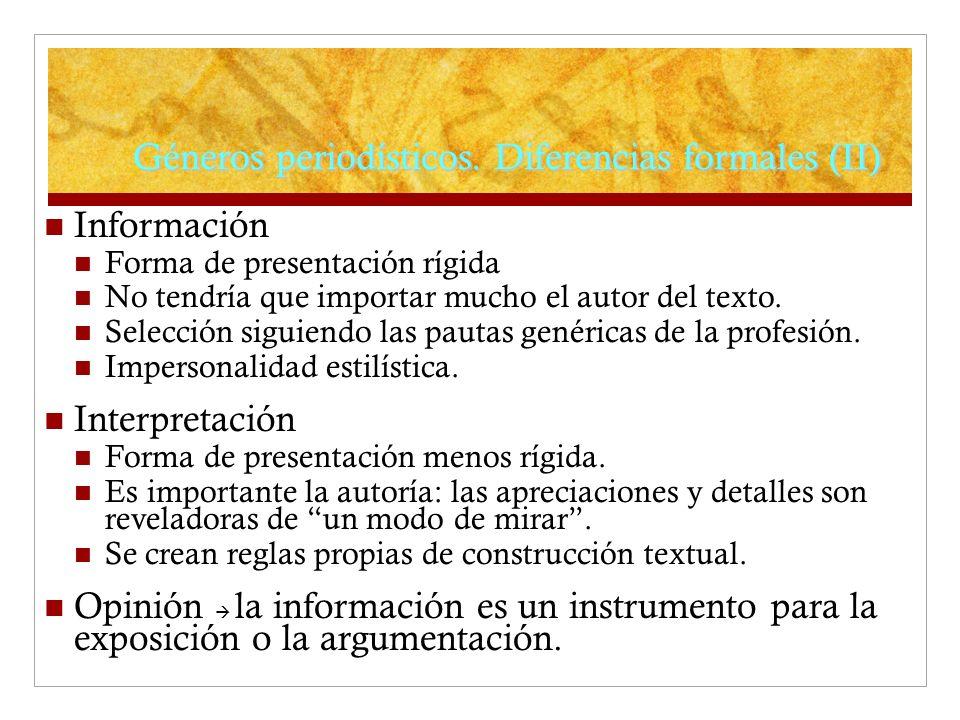 Géneros periodísticos. Diferencias formales (II)