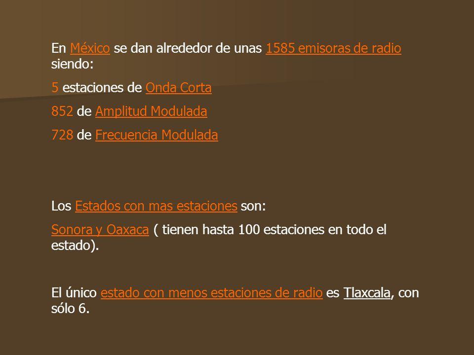 En México se dan alrededor de unas 1585 emisoras de radio, siendo: