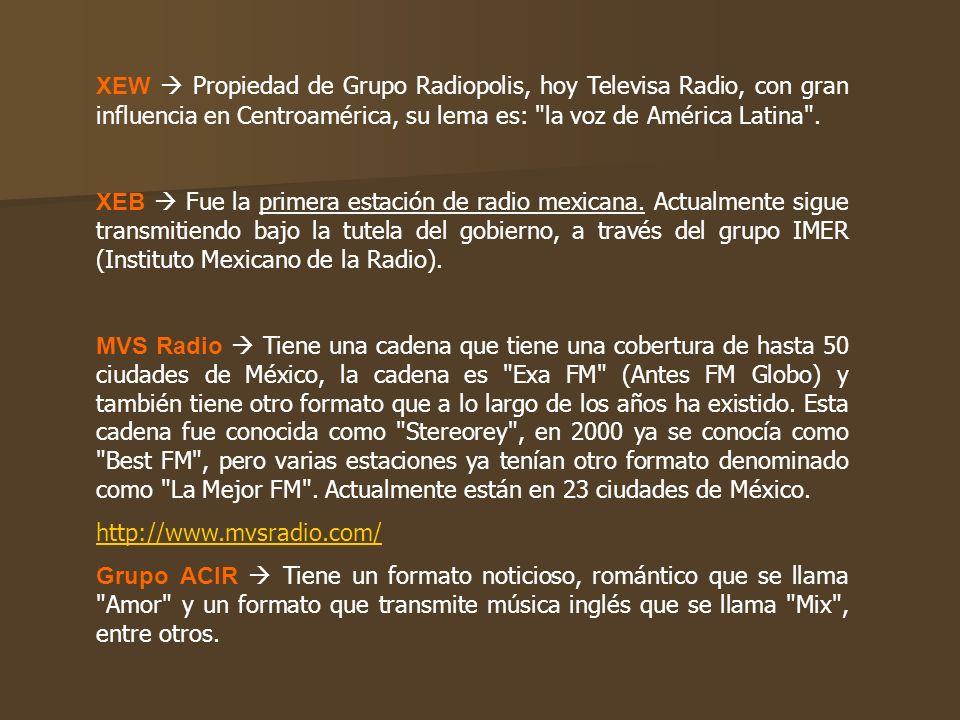 XEW  Propiedad de Grupo Radiopolis, hoy Televisa Radio, con gran influencia en Centroamérica, su lema es: la voz de América Latina .