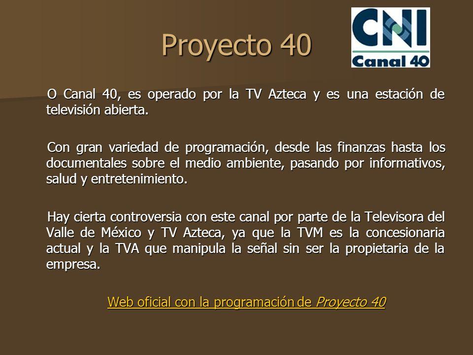 Web oficial con la programación de Proyecto 40