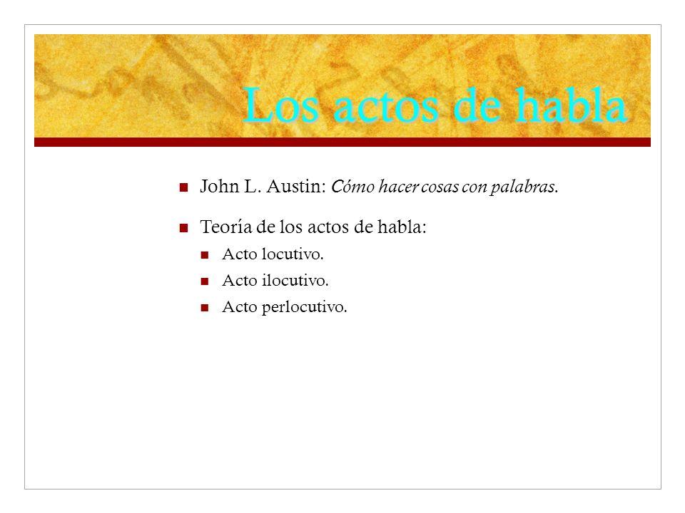 Los actos de habla John L. Austin: Cómo hacer cosas con palabras.