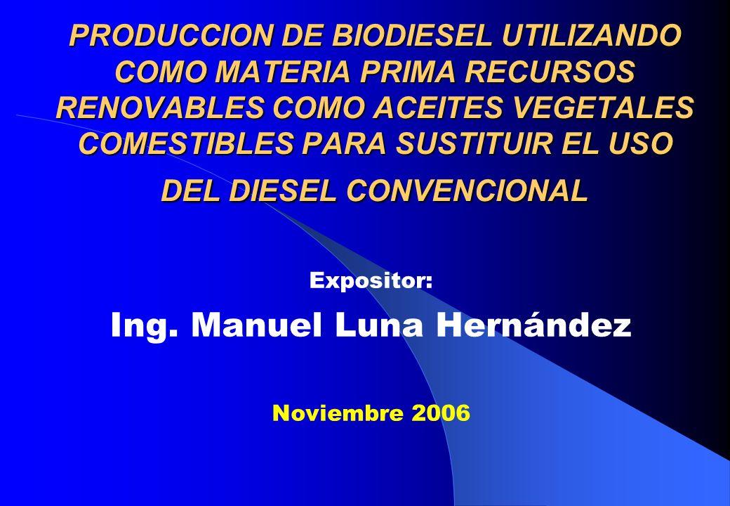 Expositor: Ing. Manuel Luna Hernández Noviembre 2006