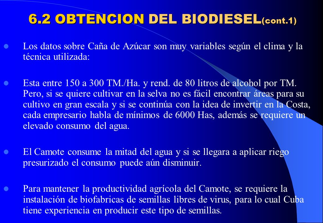 6.2 OBTENCION DEL BIODIESEL(cont.1)