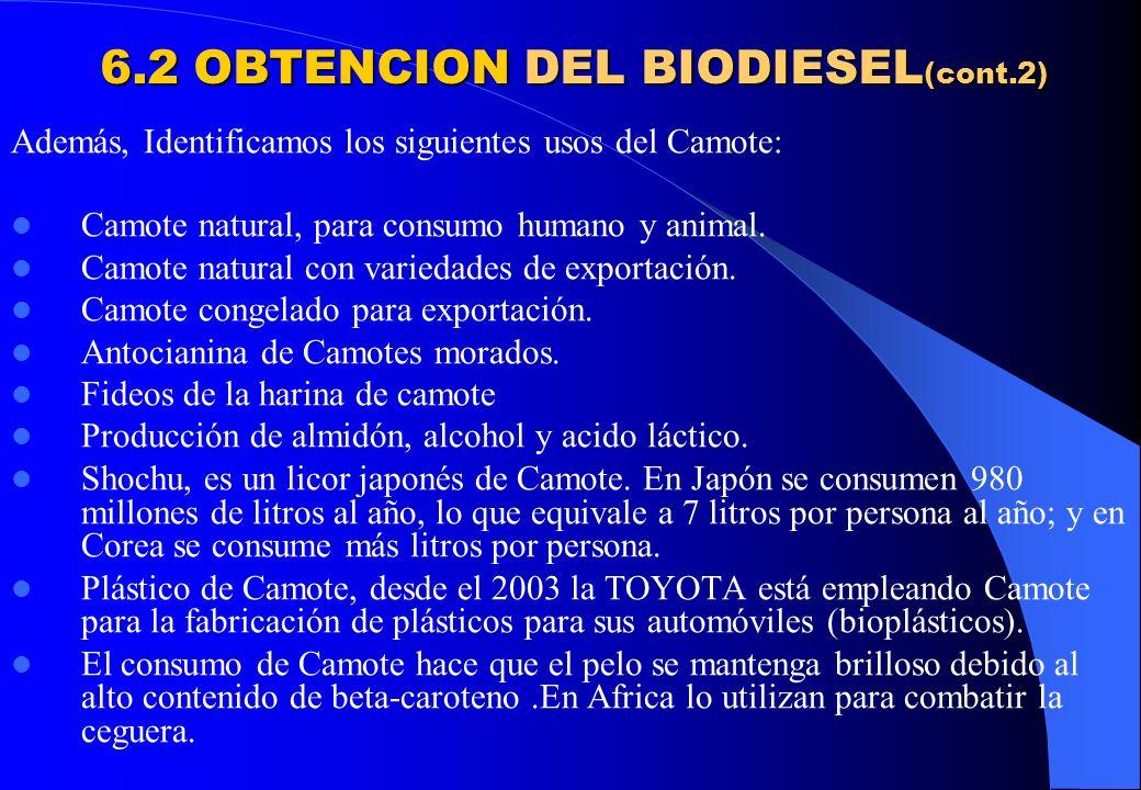 6.2 OBTENCION DEL BIODIESEL(cont.2)