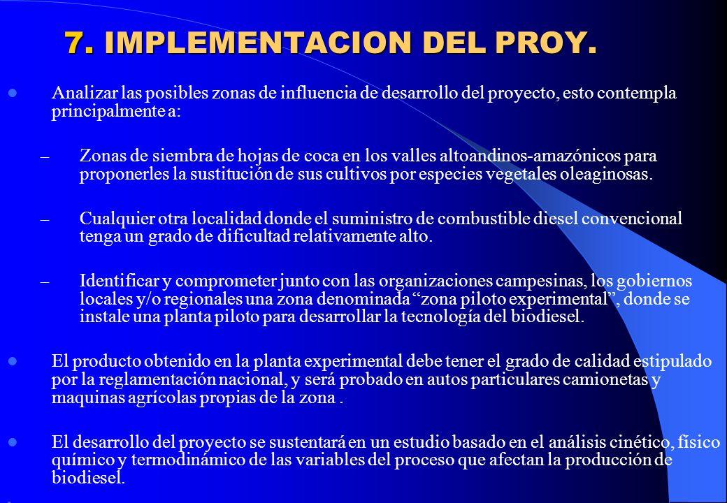 7. IMPLEMENTACION DEL PROY.