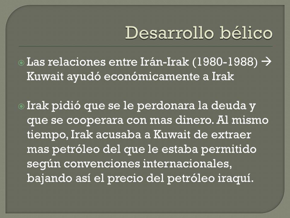 Desarrollo bélico Las relaciones entre Irán-Irak (1980-1988)  Kuwait ayudó económicamente a Irak.