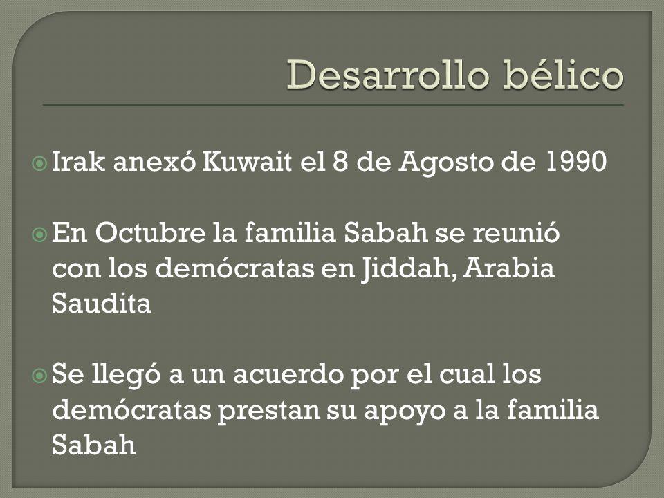 Desarrollo bélico Irak anexó Kuwait el 8 de Agosto de 1990