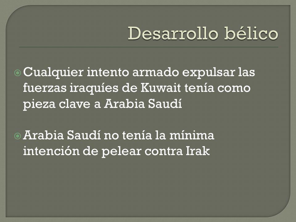 Desarrollo bélico Cualquier intento armado expulsar las fuerzas iraquíes de Kuwait tenía como pieza clave a Arabia Saudí.