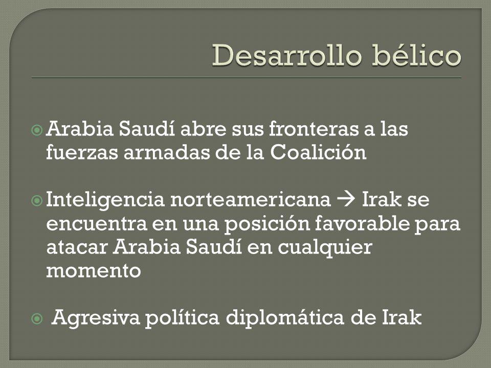 Desarrollo bélicoArabia Saudí abre sus fronteras a las fuerzas armadas de la Coalición.