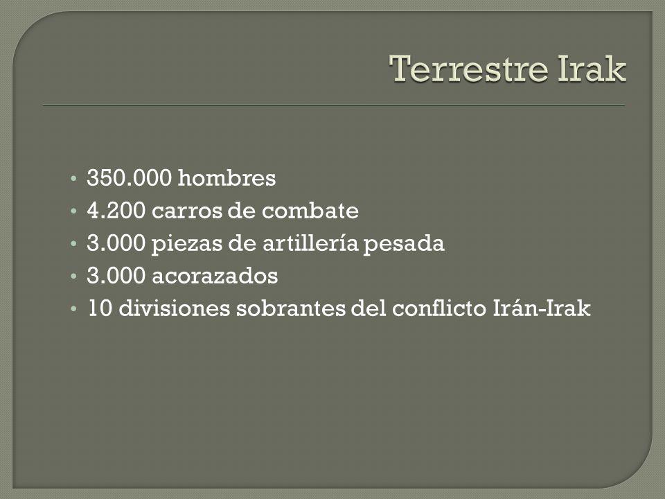 Terrestre Irak 350.000 hombres 4.200 carros de combate