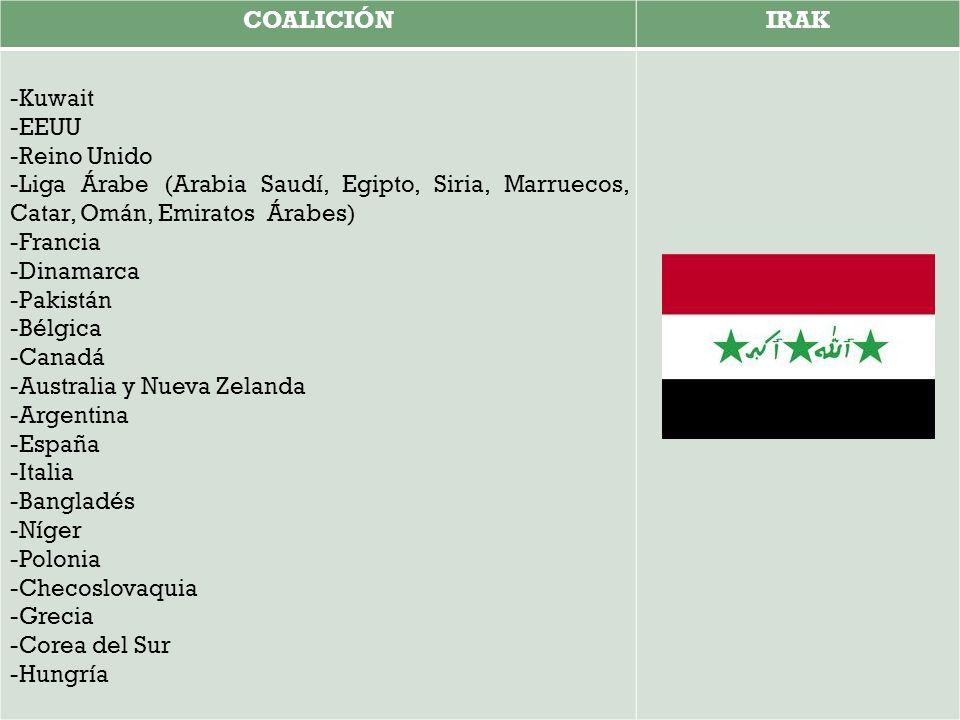 COALICIÓN IRAK. -Kuwait. -EEUU. -Reino Unido. -Liga Árabe (Arabia Saudí, Egipto, Siria, Marruecos, Catar, Omán, Emiratos Árabes)