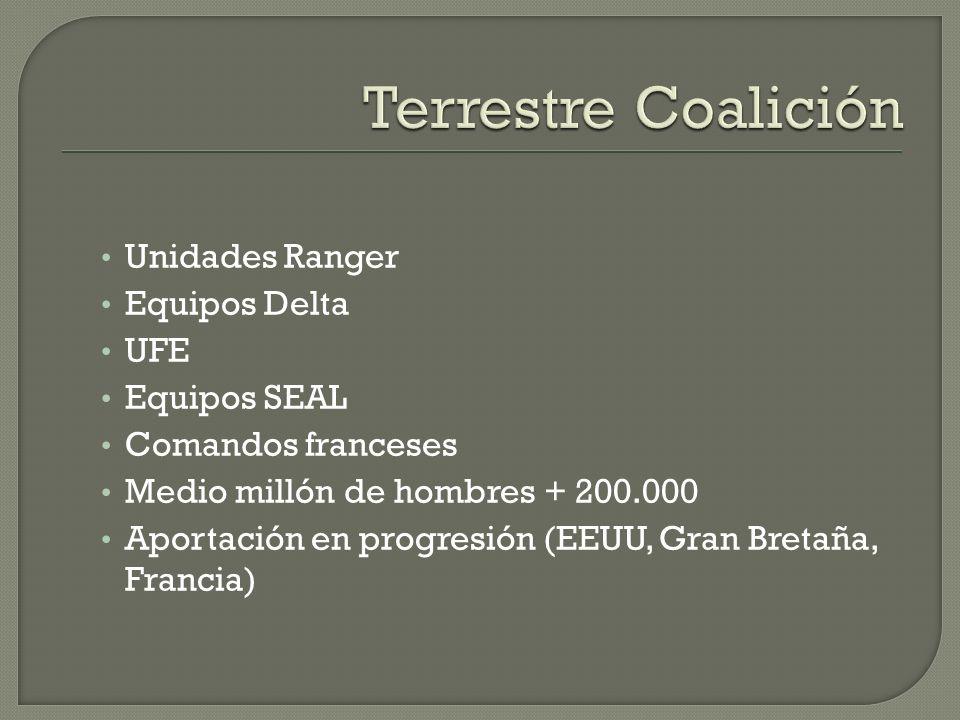 Terrestre Coalición Unidades Ranger Equipos Delta UFE Equipos SEAL