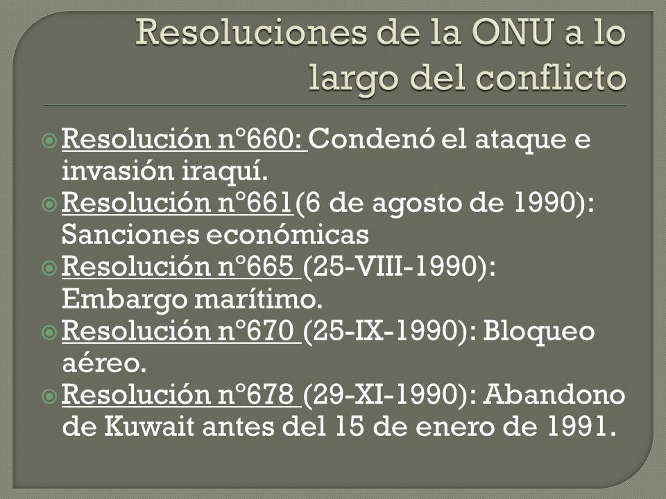 Resoluciones de la ONU a lo largo del conflicto