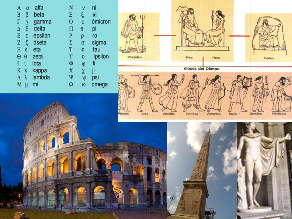 Grecia y RomaSu expansionismo les permitió absorber diversas culturas. Comenzaron con la escritura usando letras.