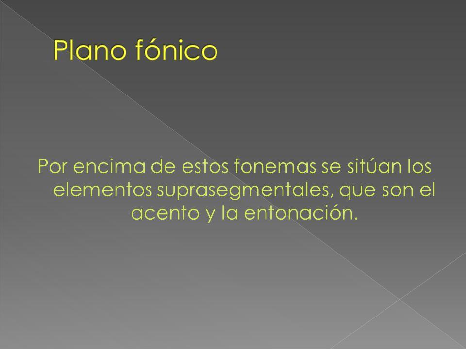 Plano fónicoPor encima de estos fonemas se sitúan los elementos suprasegmentales, que son el acento y la entonación.