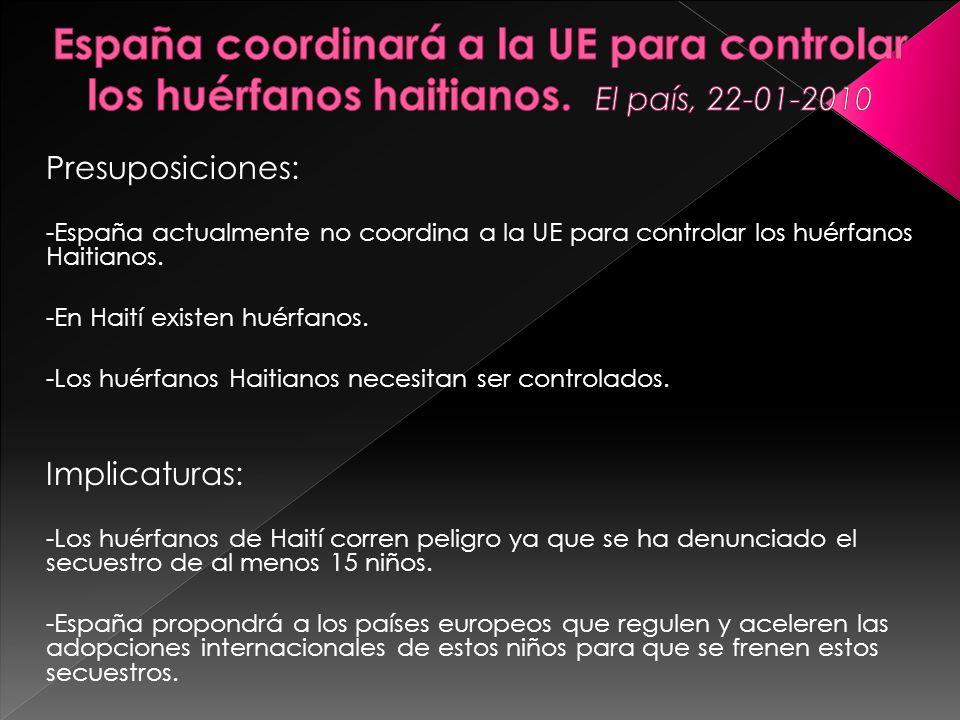 España coordinará a la UE para controlar los huérfanos haitianos