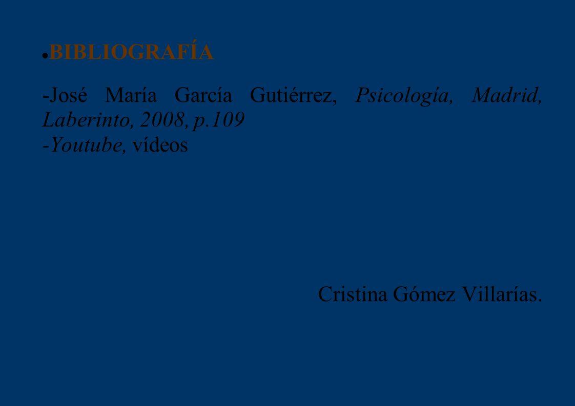 BIBLIOGRAFÍA -José María García Gutiérrez, Psicología, Madrid, Laberinto, 2008, p.109. -Youtube, vídeos.