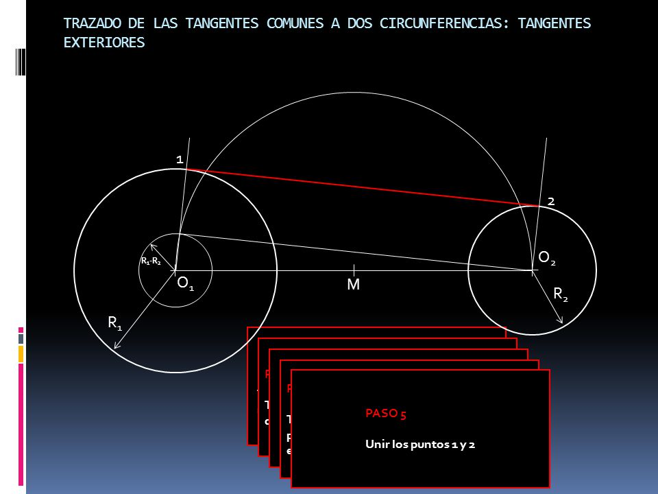 TRAZADO DE LAS TANGENTES COMUNES A DOS CIRCUNFERENCIAS: TANGENTES EXTERIORES