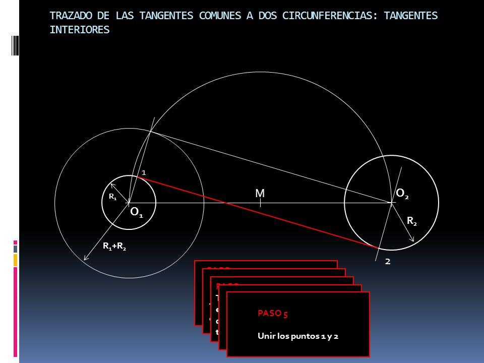 TRAZADO DE LAS TANGENTES COMUNES A DOS CIRCUNFERENCIAS: TANGENTES INTERIORES