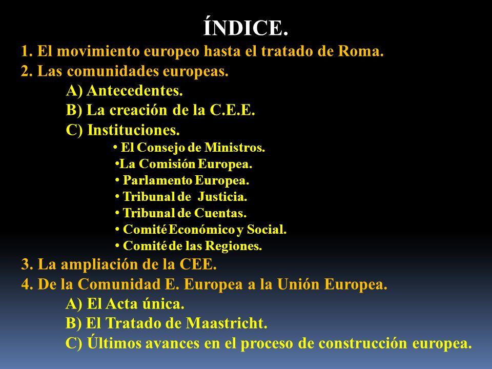ÍNDICE. 1. El movimiento europeo hasta el tratado de Roma.