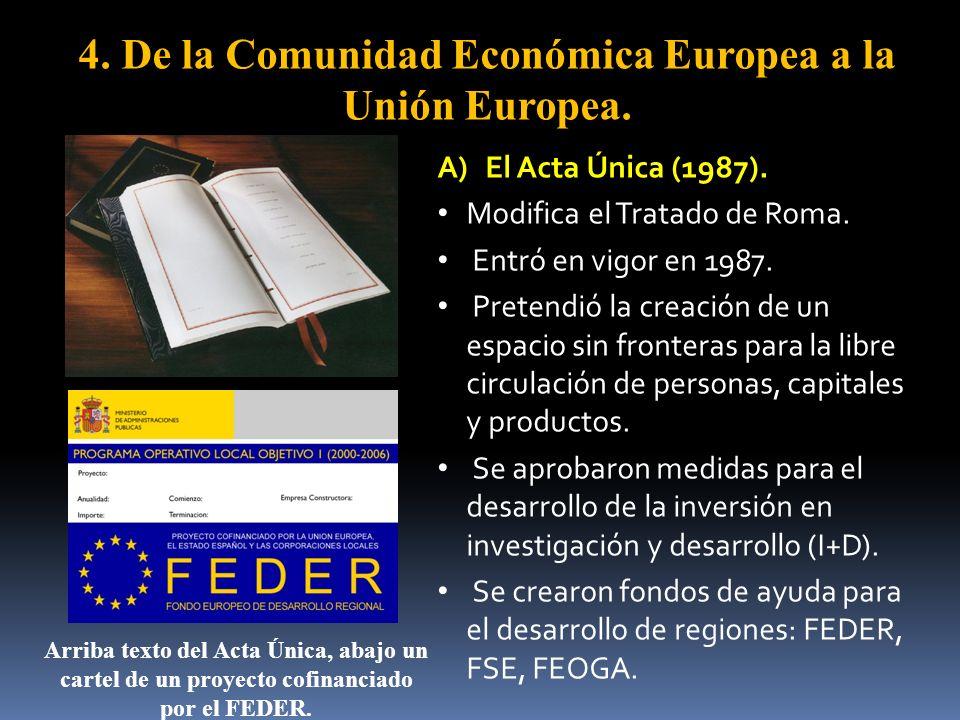 4. De la Comunidad Económica Europea a la Unión Europea.
