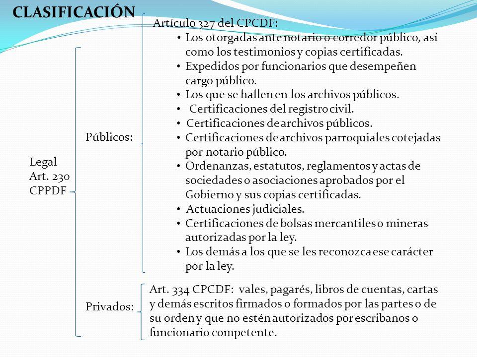 CLASIFICACIÓN Artículo 327 del CPCDF: