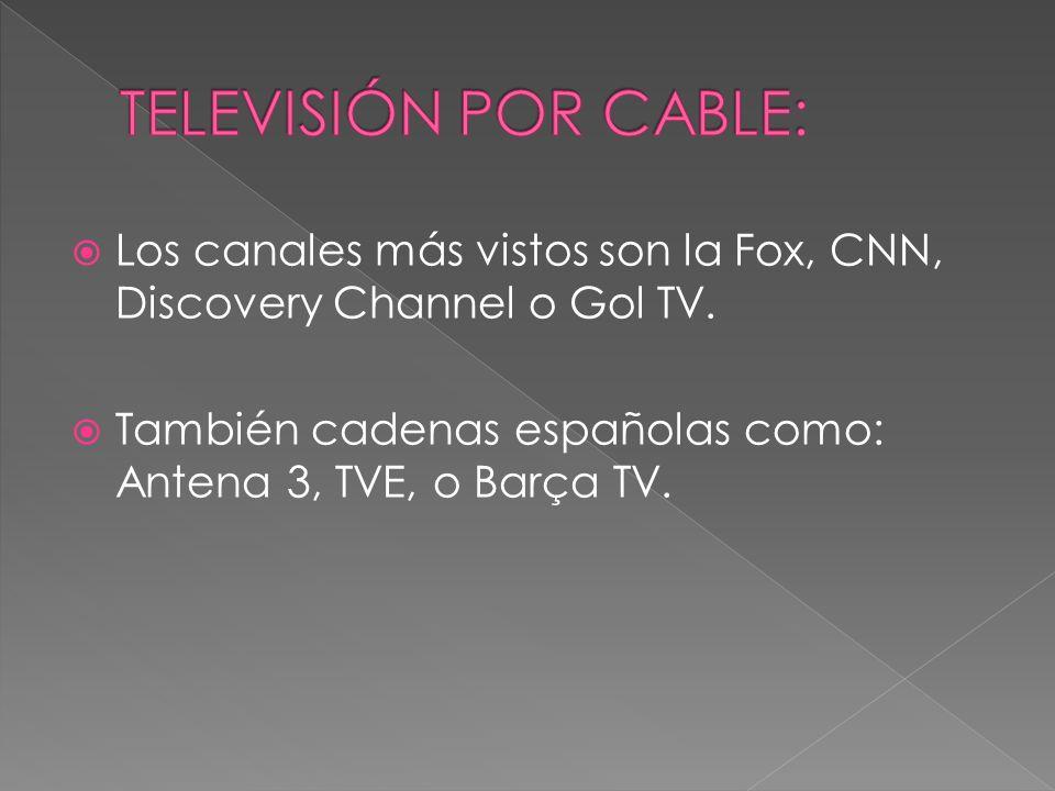 TELEVISIÓN POR CABLE:Los canales más vistos son la Fox, CNN, Discovery Channel o Gol TV.